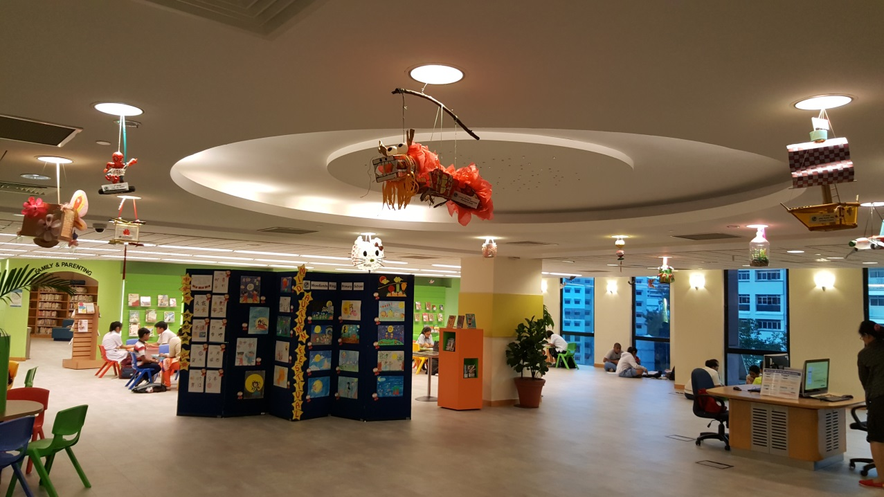 Pupils' works were displayed in the Woodlands Regional Library